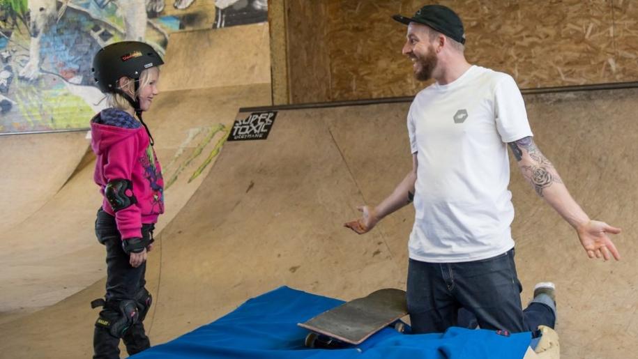skateboarding lesson