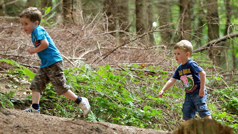 boys running through woods