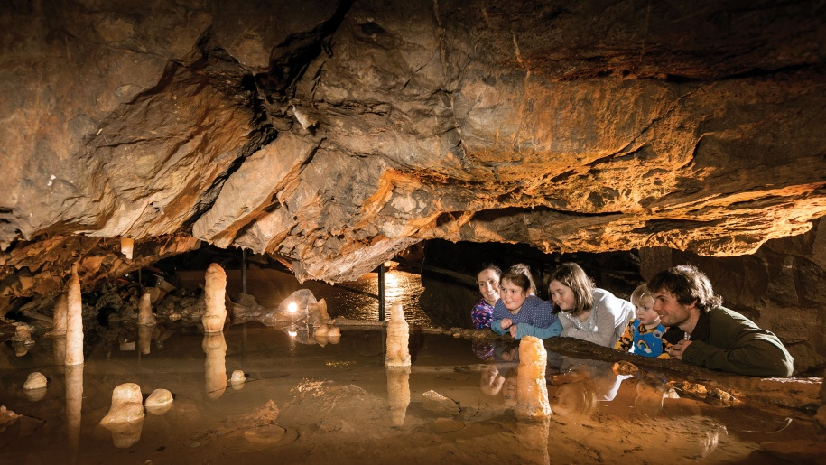family in cave