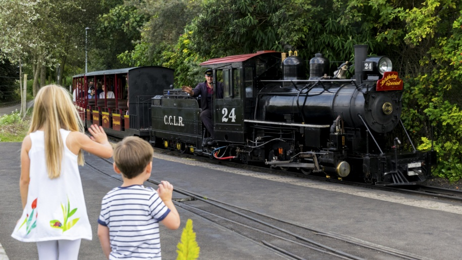 kids looking at a train
