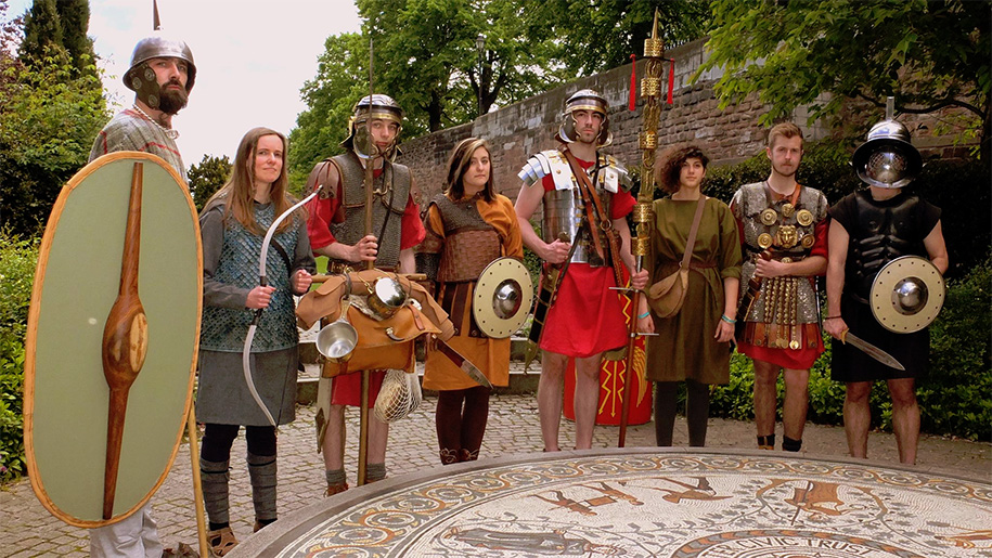 group dressed as romans
