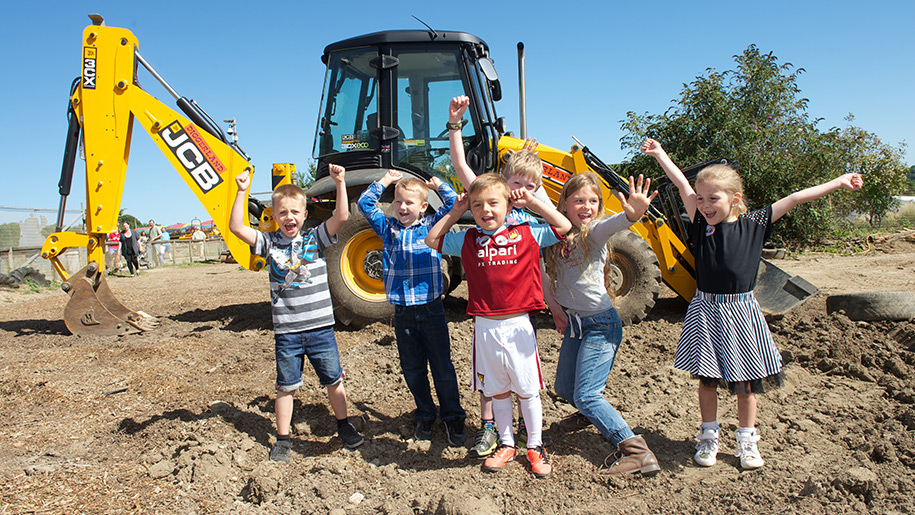 Diggerland Children with tractor