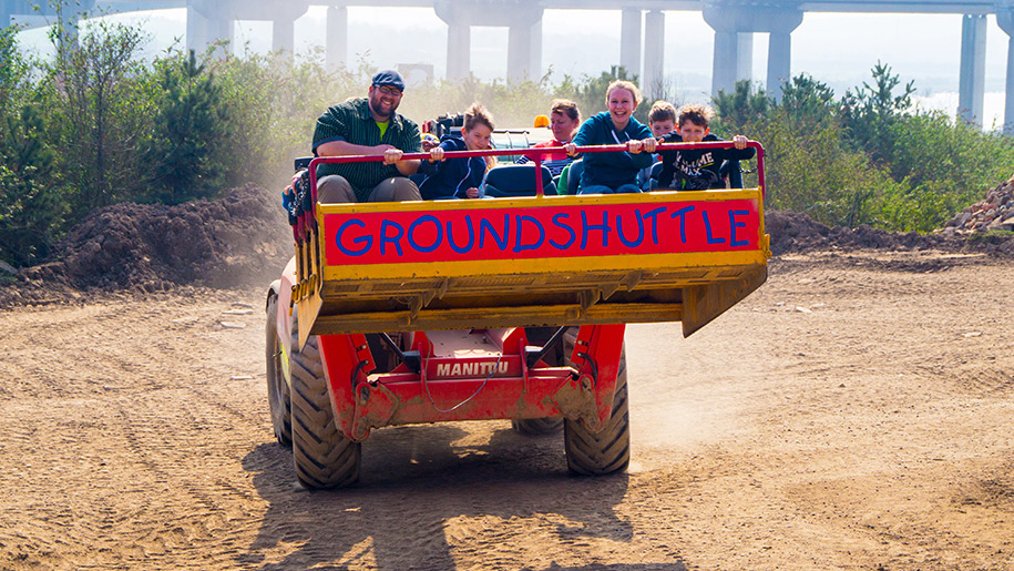 Diggerland family in tractor