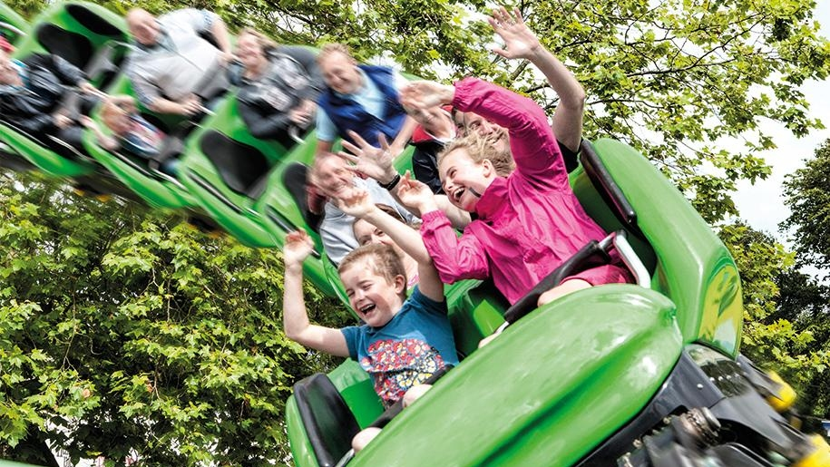 children on roller coaster at Drayton Manor