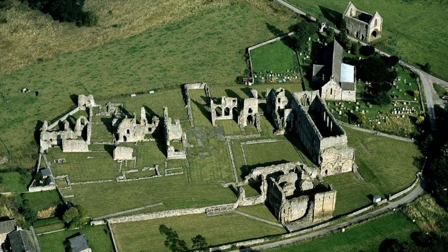 aerial view of easby abbey