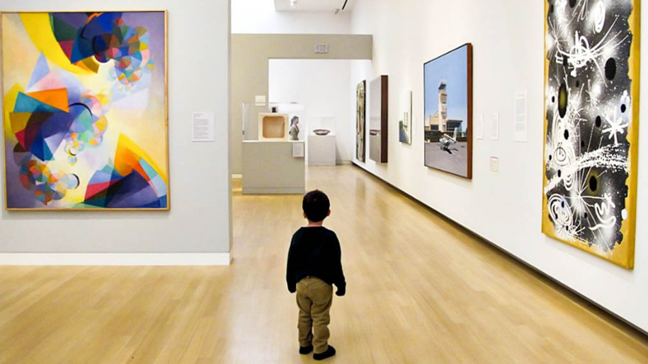 boy in art gallery