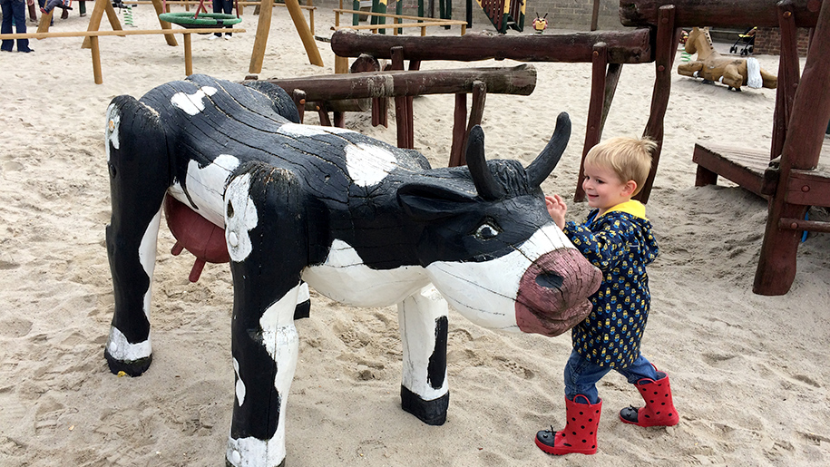 Farmer Palmers child with wooden cow