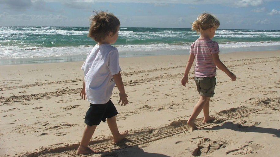 children walking on beach