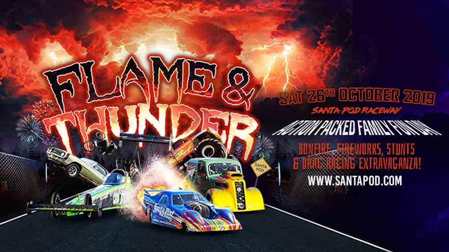 santa pod raceway flame and thunder poster