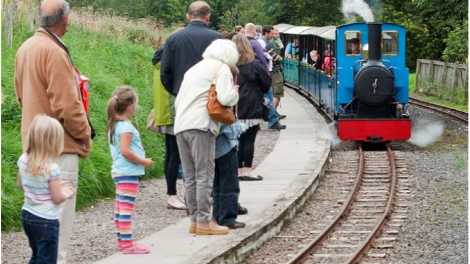 people waiting for miniature train