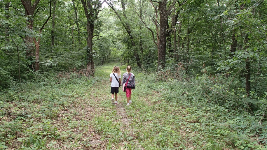 girls walking in woods