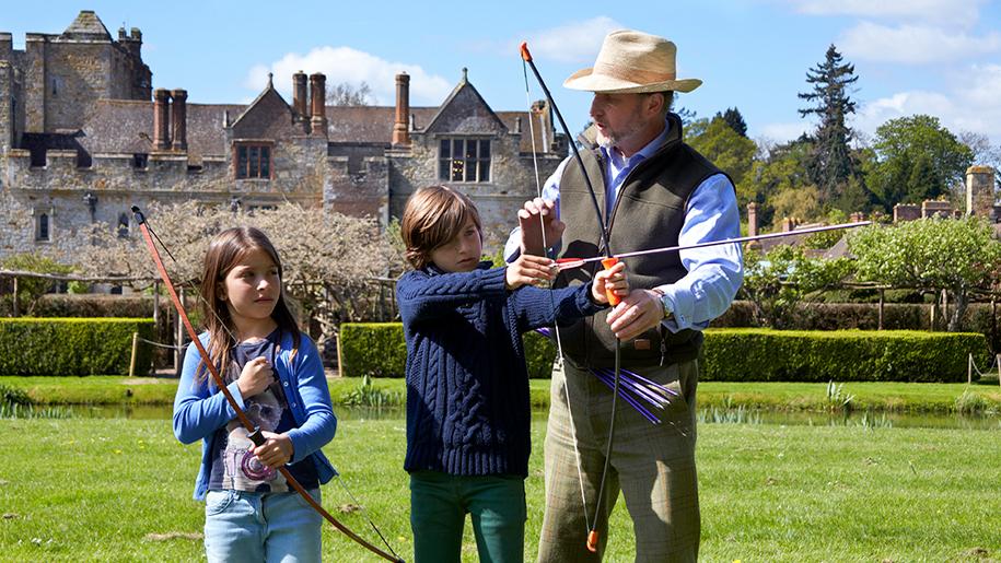 children learning archery