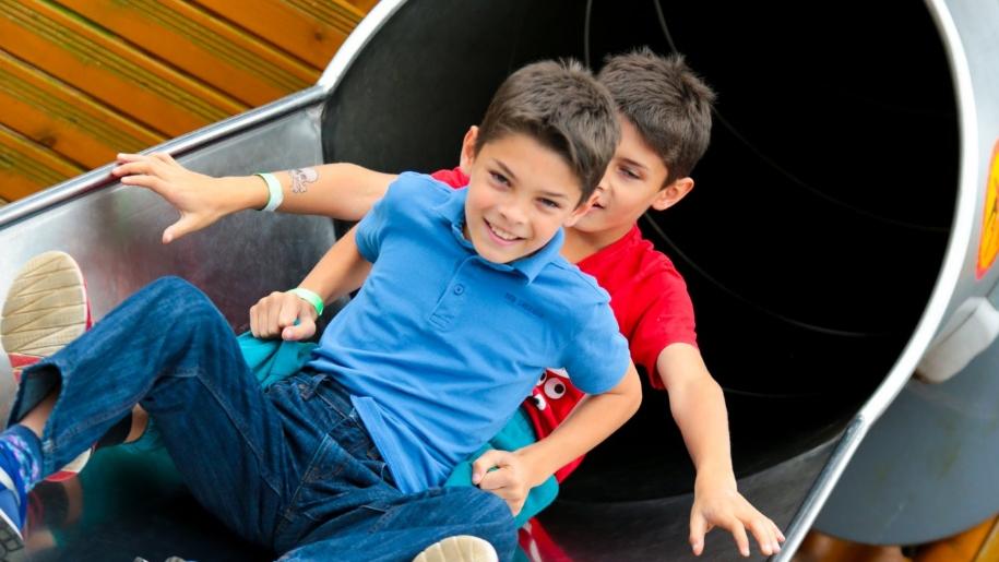 boys on slide