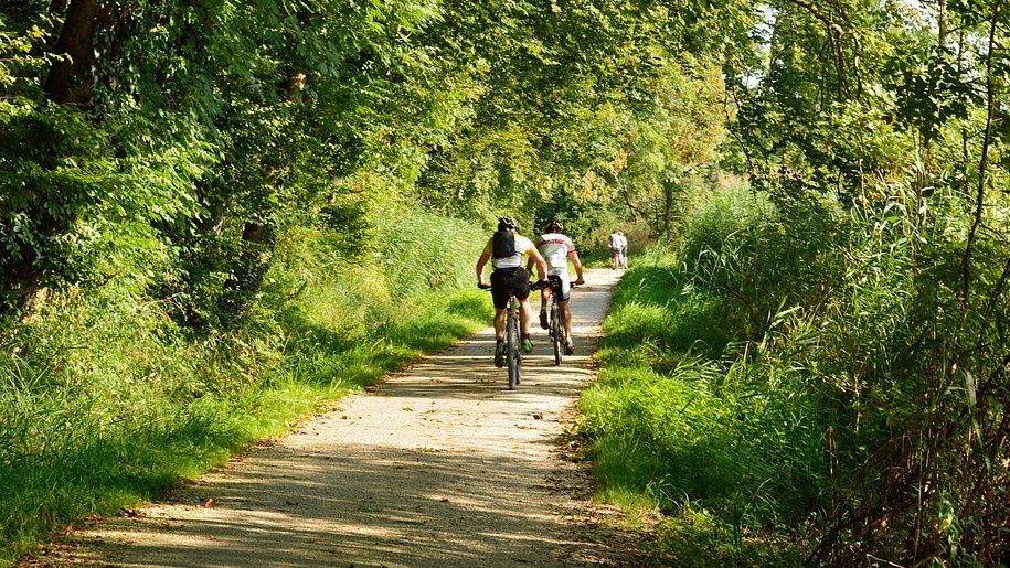 cycling on canal path