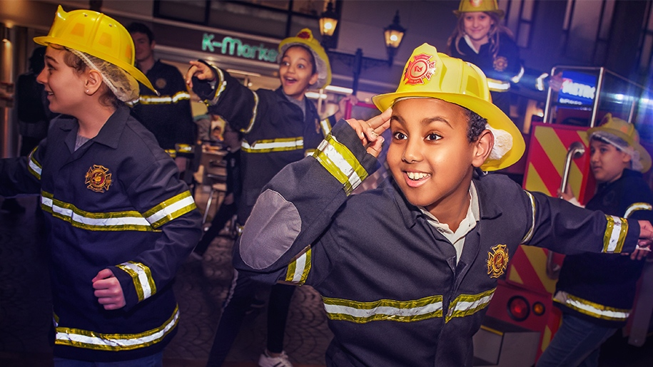 kids dressed as firefighters