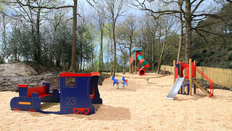 sandpit with toy train