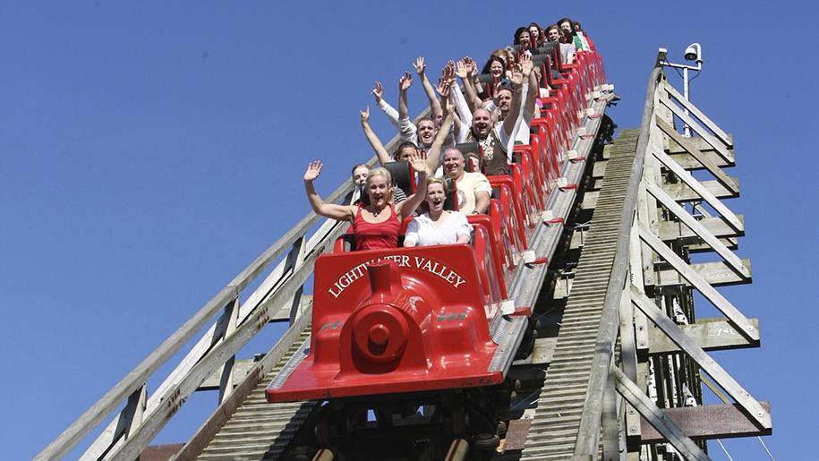 Lightwater Valley Theme Park Kids on train ride