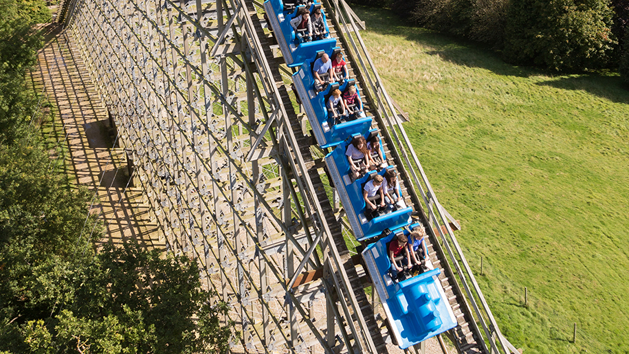 Lightwater Valley Theme Park families on roller coaster