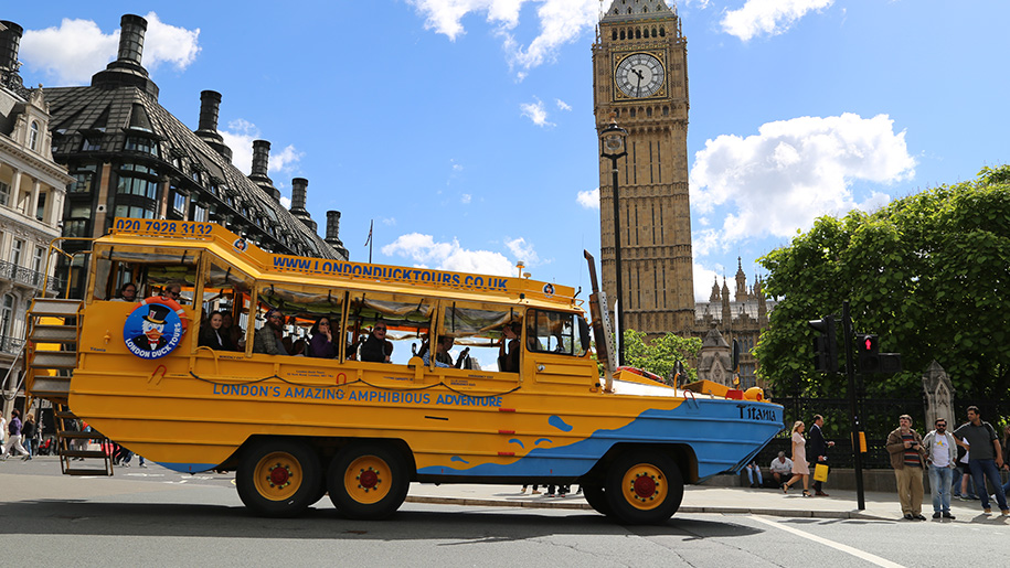 London Duck Tours boat on land pass Big Ben