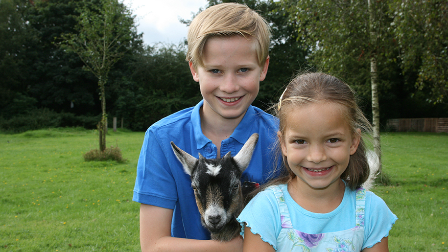 Longdown Activity Farm kids with goat