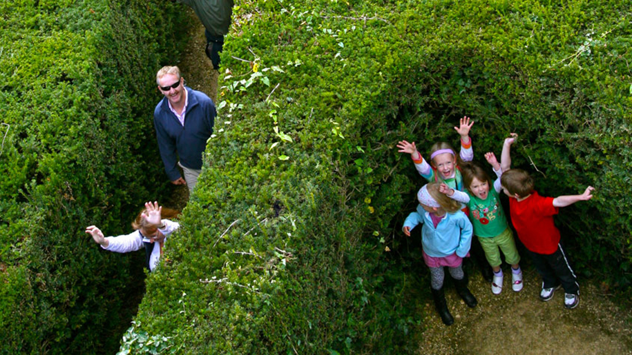 Longleat family in maze