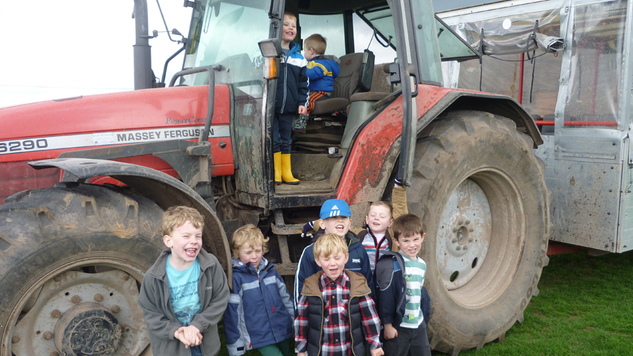 Children and tractor at Lower Drayton Farm