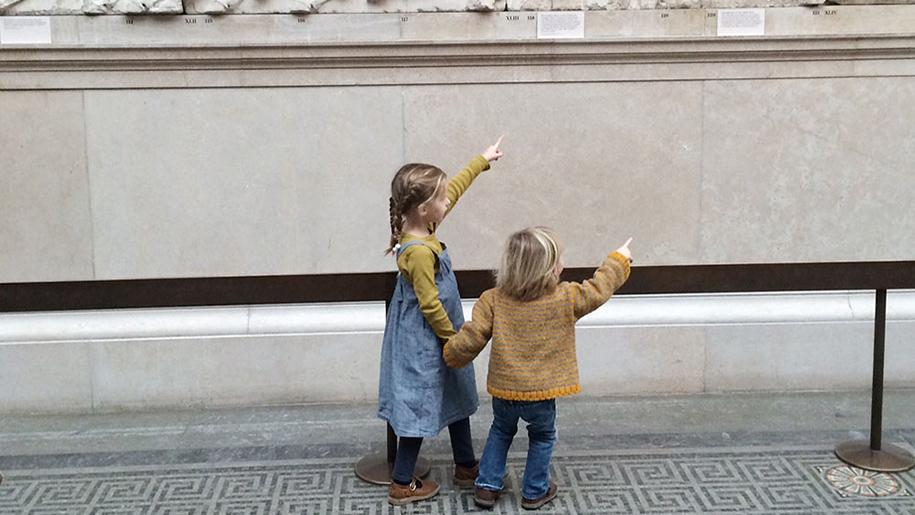 little girls in museum