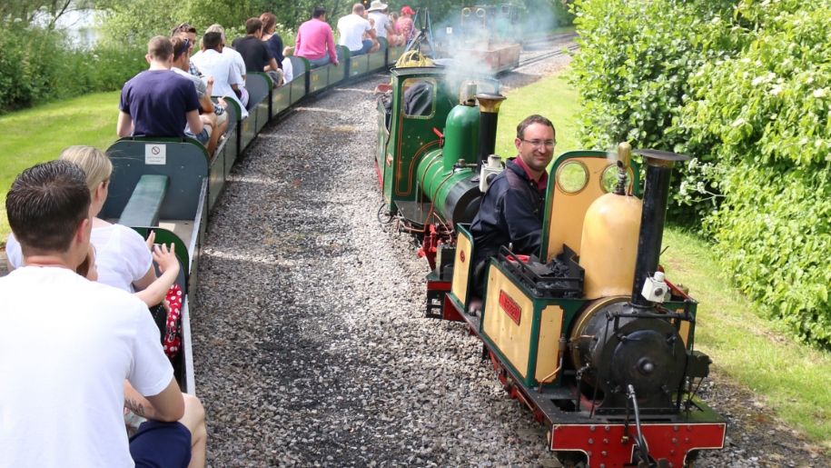 families on miniature railway