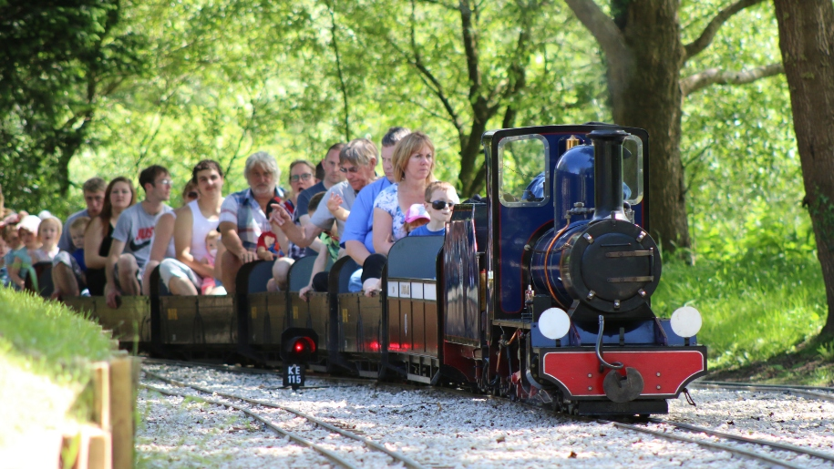 families on miniature railway