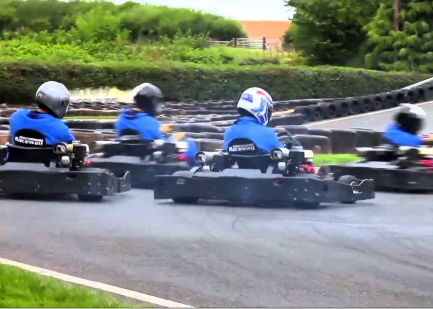 children go karting