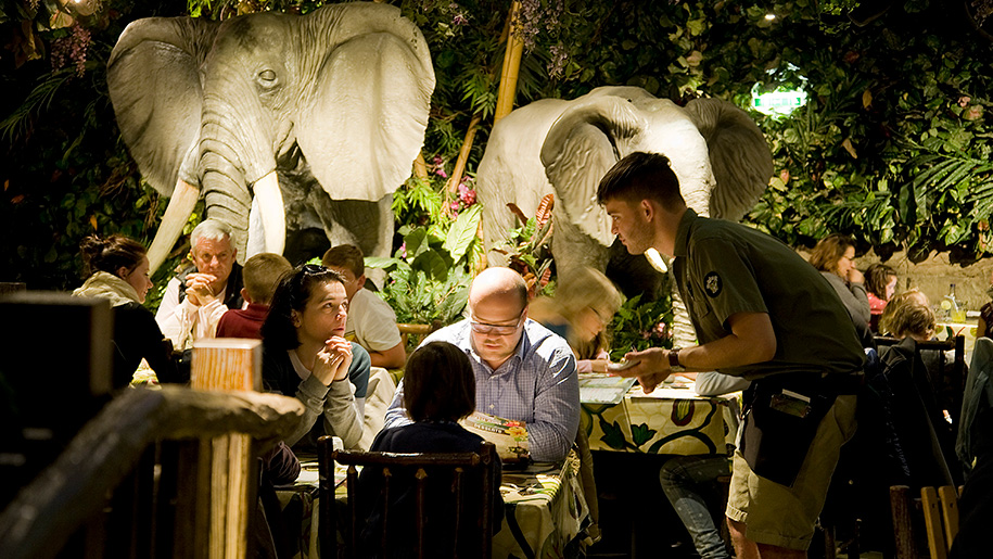 Rainforest Cafe family eating