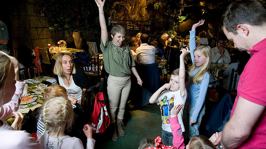 Rainforest Cafe children excited at restaurant