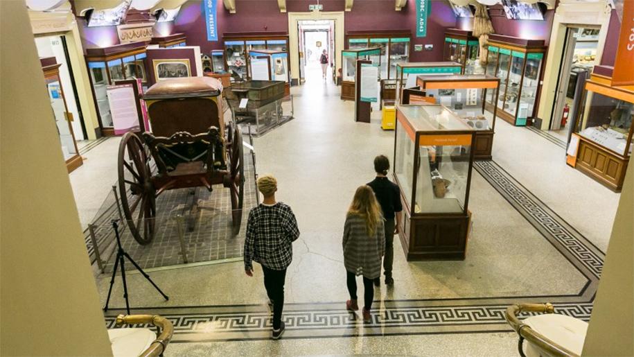 walking through museum