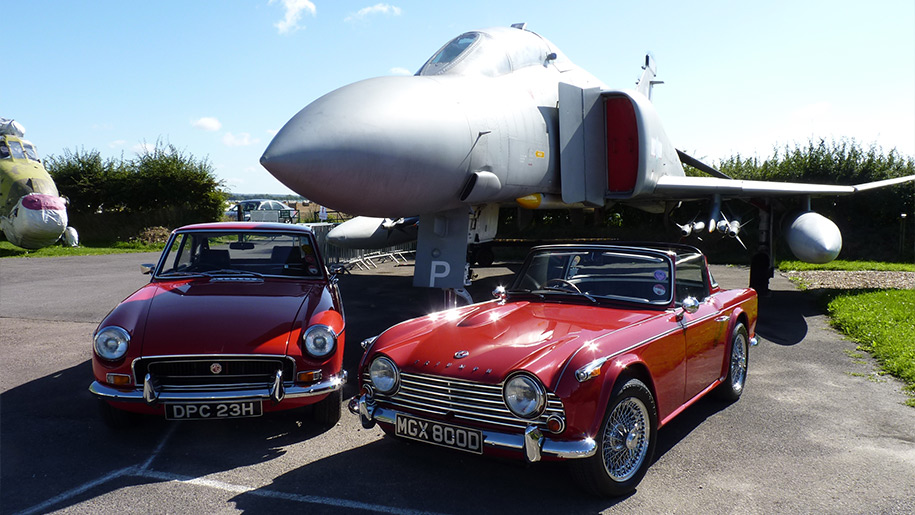 Tangmere Military Aviation Museum plane and cars