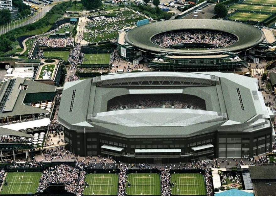 aerial view of centre court and court one
