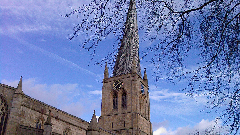 church with crooked spire