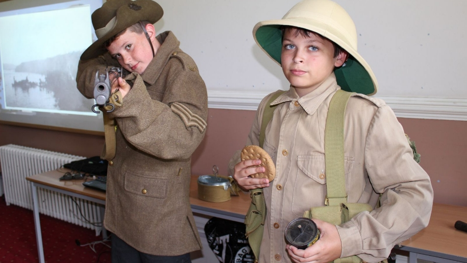 boys dressed as soldiers