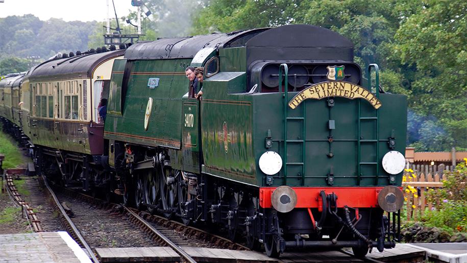 rear view of steam train