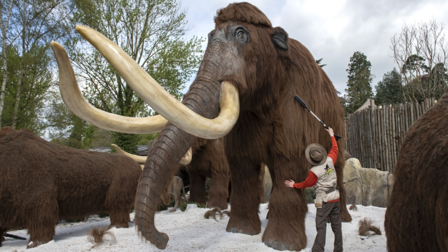 ice age mammoth with keeper