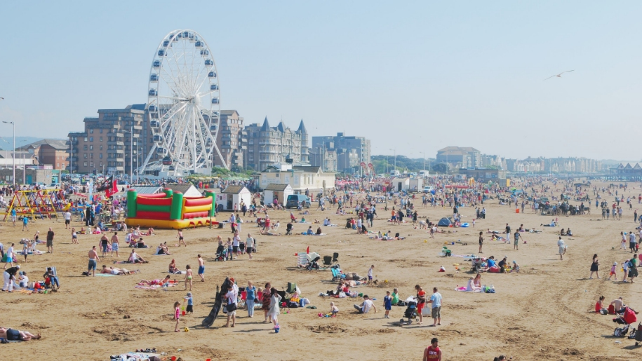 busy weston-super-mare beachfront
