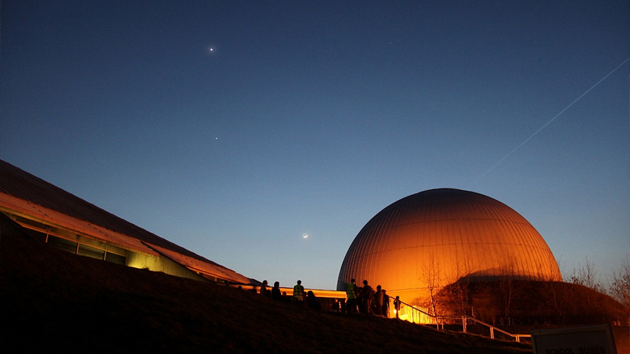 Winchester Science Centre and Planetarium at night