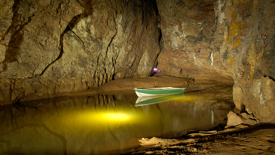 Wookey Hole Caves and boat