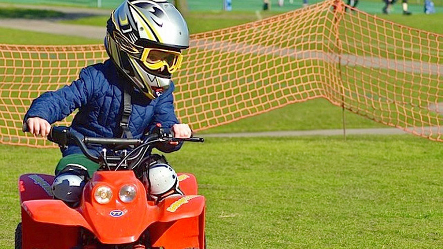 Barracudas camps child on quad bike