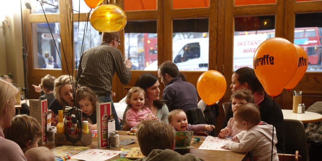 Family at Giraffe Restaurant