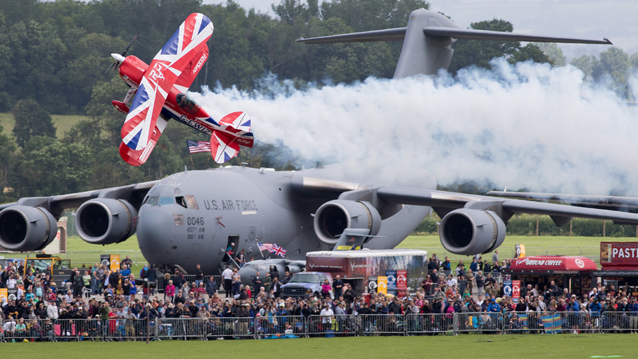 RNAS Yeovilton International Air Day Pitts Special crowd with planes