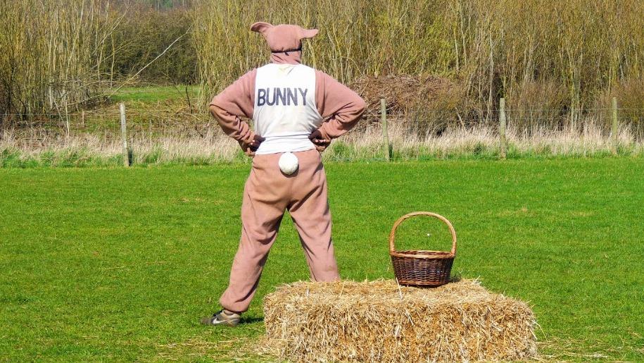 Roves Farm man in bunny costume