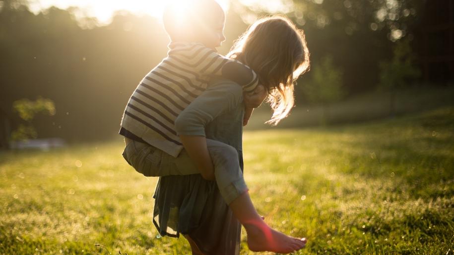 Boy and girl in sunshine