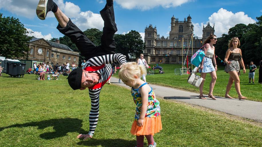 child and stunt man at Splendour Festival