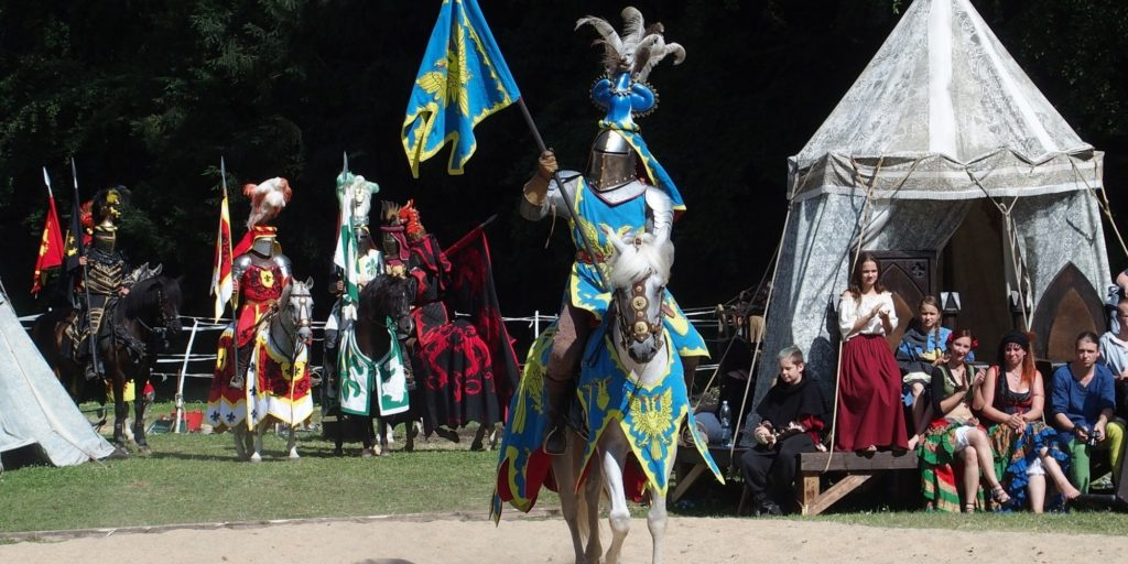 knight on horse for medieval jousting