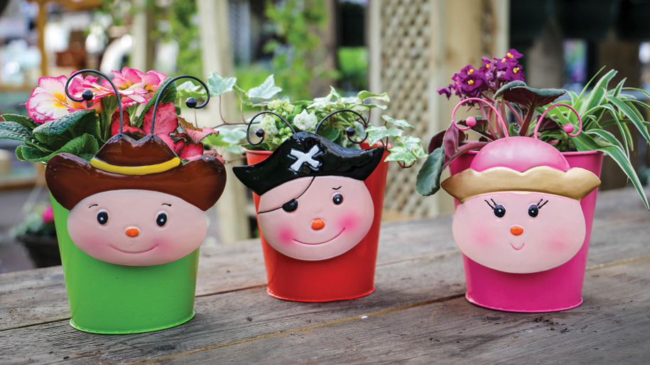decorated plant pots